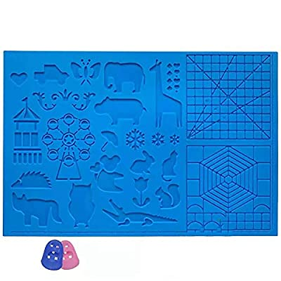 3D Printing Pen Silicone Mat Drawing Children Drawing Pad with Basic Animal Patterns and Finger Protectors for 3D Printing Pen Designing 1PCS