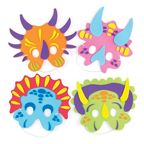 Baker Ross Dinosaurier Masken aus Moosgummi, DIY Bastelsets für Kinder Kunsthandwerk und Dinosaurierparty (4er Pack), sortiert