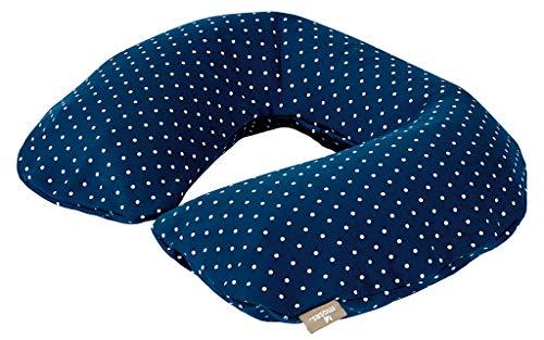 moses. Fernweh aufblasbares Nackenkissen Punkte | Mit Jerseybezug | Nackenhörnchen zum Aufblasen Reisekissen, 36 cm, Marineblau