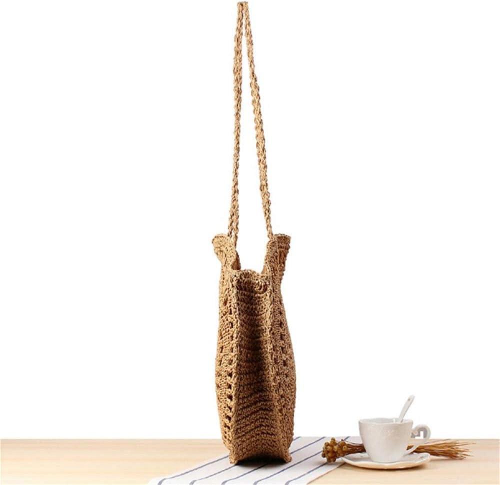 YBWEN Sac de Paille Mode féminine tissé Sac à Main Ronde rotin Paille Sac à bandoulière Totes (Couleur : Coffee) Café
