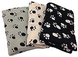 Haustierdecke Hundedecke Fleece Decke Katzendecke Tierdecke Liegedecke Pfötchen (schwarz, 80 x 120) - 3