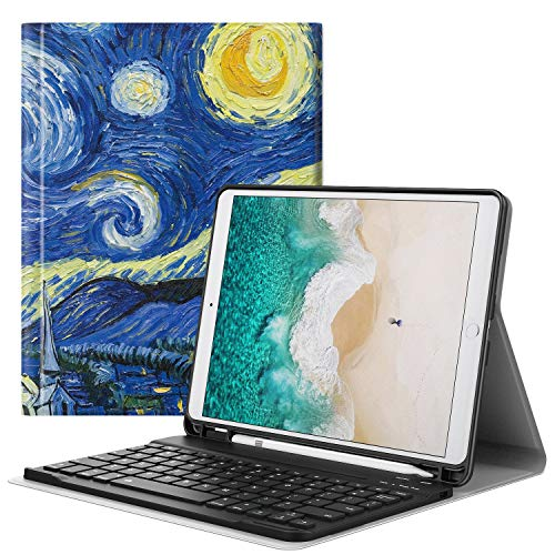 "MoKo Custodia per Tastiera per Apple New iPad Air (3rd Generation) 10.5"" 2019/iPad Pro 10.5 2017, Portapenna incorporato, Tastiera Bluetooth QWERTY (Layout Inglese) Custodia con Porta - Notte Stellata"