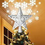 COOLWUFAN Lighted Christmas Tree Toppers with LED Rotating Snowflake Projector Lights, 2-in-1 Gold Glittered 5 Point 9.8 Inch Star Tree...