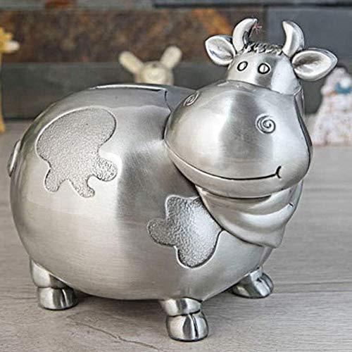 JJZXT Regalos de Metal Hucha Ahorro del Banco Efectivo Moneda del Dinero de la Caja de Juguete for niños for niños Inicio colección Decorativa Caja de Dinero (Color : Silver)