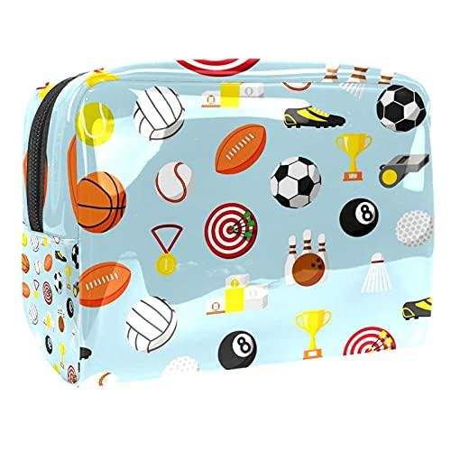 Bolsas de cosméticos a prueba de agua, bolsa de aseo de viaje colorida con patrón de bola deportiva, bolsa de maquillaje con cremallera para mujeres, bolsa organizadora de piscina de playa