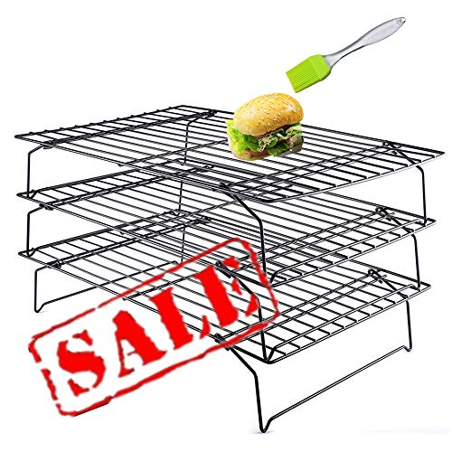 3 Tier Non Stick Cake Cooling Rack - Oven Safe, Heat Resistant, Space Saving Stackable Wire Tray with Collapsible Legs for Roasting, Cooking, Grilling, Drying, Plus Multi-use Basting Brush, 10x16 in