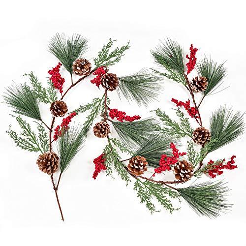 YQing 183 cm Beerengirlande Stechpalme Deko, Weihnachten Tannengirlande mit Tannenzapfen Rote Beeren und Kiefernnadel, Künstliche Rote Beerengirlande für Kamin, Treppe, Tischdekoration