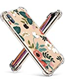GVIEWIN Compatible for iPhone Xs Case, iPhone X Case, Clear Floral Pattern Soft TPU Thin Shock Absorption Bumper Transparent Cover, Anti-Scratch Cases for iPhone X/iPhone 10 (Petite Flowers/Pink)