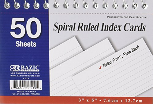 Spiral Bound 3 Inch X 5 Inch Ruled White Index Card - 50 Ct. (Pack of 6)