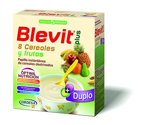 Blevit Plus Duplo 8 Cereales y Frutas - Papilla de Cereales para Bebé Sin Azúcares Añadidos - Facilita la Digestión con Extra de Energía - Desde los 5 meses - 600g