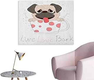 Anzhutwelve Pug Photo Wall Paper Live Love Bark Quote with a Puppy in Cup Happiness Funny Valentines Image Cool Poster Pink Black Pale Pink W36 xL32