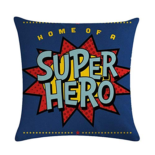 Fundas de Almohada de Tiro Super Hero Quote Throw Pillow Funda de cojín Patrón de exclamación Funda de Almohada Cuadrada Decorativa (Super Hero-Blue)