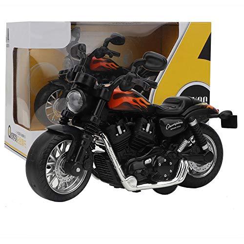 Zerodis Elektrische Legierung Motorrad hohe Simulation Modell Spielzeug mit Licht und Musik Sammlung Geschenk für Kinder Jungen(Schwarz-Weiss)