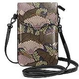 Liliylove Vintage Art Deco pipistrello e fiori leggero piccola borsa a tracolla per cellulare portafoglio per donne ragazze con pratico trasporto