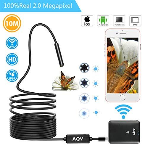 Endoscopio WiFi, AQV Boroscopio Cámara de 2mpx 720p HD Inalámbrico Impermeable Endoscopio...