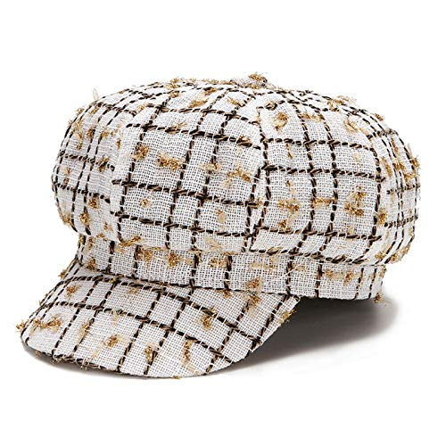 LIUXING-Home Girl Newsboy Hat Cappellino da Donna cap Marinatore Berretto da Pescatore Mariner Breton cap Baker cap Newsboy Picco Personal Accessories (Color : White, Size : Medium)