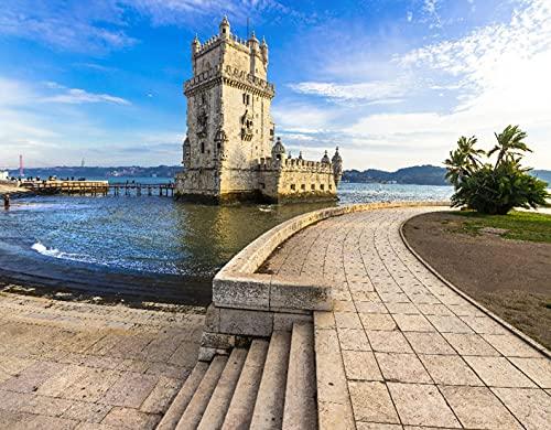 DIY Kits de Pintura de Diamante 5D para Niños y Adultos,Torre de Belem - famoso monumento de Lisboa Portugal,Arte de la Imagen para la Decor de la Pared del Hogar Regalo,16' x 12'