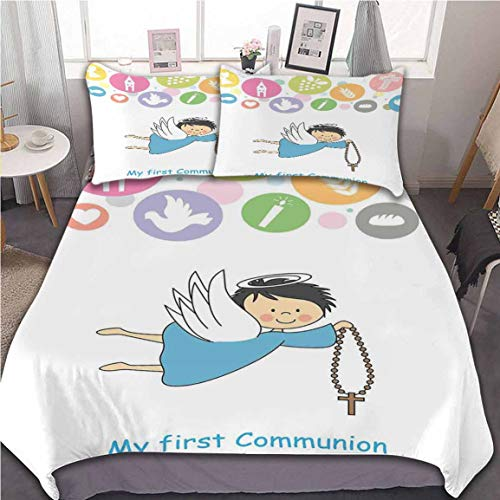 Oobon Bedding Duvet Cover Set, Boy First Communion Writing Sign Grapes Chalice Bread Candle Fish Wings Artwork, with Zipper Closure&Corner Ties, 3pc (1 Duvet Cover+2 Pillow Shams), 68x86 inch