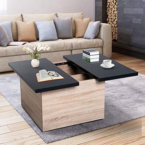 Generic Table Basse Moderne avec Plateau Coulissant Noir