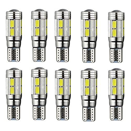 ZALAGA 10 Piezas W5W T10 12V 6000K 5630 10 SMD Bombilla LED para Coche Canbus Placa de MatríCula CuuA Luz Lateral de Giro Super Brillante Blanco