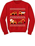 Tractors Bulldozers Ugly Christmas Sweater Style Toddler Kids Sweatshirt 2T Red