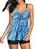 Zando Womens Tankini Swimsuits Two Piece Swimsuits Plus Size Bathing Suits Printed Tankini Top with Boyshort Swimsuit Tummy Control Swimwear Slimming Swimming Suits for Women Blue Galaxy 12-14