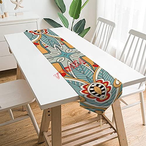 Camino de mesa bufandas, estilo retro, bonito y elegante, diseño de mosaico, color rojo, verde azulado floral, para el hogar, cocina, cena, boda, eventos, decoración, 13 x 70 pulgadas,