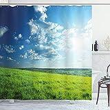 ABAKUHAUS Natur Duschvorhang, Wiesental Wolke Sonne, Wasser Blickdicht inkl.12 Ringe Langhaltig Bakterie & Schimmel Resistent, 175 x 200 cm, Kalkgrün hellblau