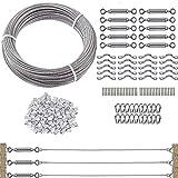 TooTaci Paquete de 10 kits de barandilla de cables de acero inoxidable para postes de madera, con cable de acero inoxidable T316 de 1/8 pulgadas, construcción de 7 x 7 hebras, 200 pies