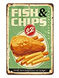 AOYEGO Fish and Chips Tin Sign,Cod Cook Oil Dish Fast Food Fresh Delicious Restaurant Vintage Metal...