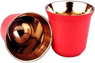 Tasses à expresso – Tasses à café en acier inoxydable, double paroi isotherme, tasses à café, tasses à thé 80 ml, faciles ...