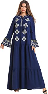 LJMSL Abayas Islamic Embroidery Abaya Ruffles Draped Swing Maxi Dress Ethnic Kimono Long Robe Gowns Ramadan Middle East Ei...