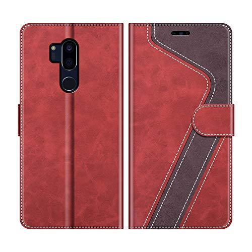 MOBESV Handyhülle für LG G7 ThinQ Hülle Leder, LG G7 ThinQ Klapphülle Handytasche Hülle für LG G7 ThinQ Handy Hüllen, Modisch Rot
