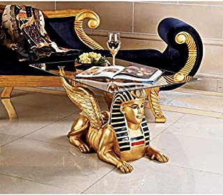 Design Toscano Egyptian Sphinx Glass Topped Sculptural Table in Faux Gold and Egyptian Palette