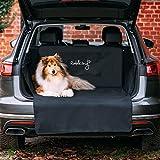Rudelkönig Kofferraumschutz mit Ladekantenschutz - 185x104x58cm - wasserabweisend + pflegeleicht - Universale Autodecke für Hunde - Schwarze Schondecke mit Kofferraumtasche
