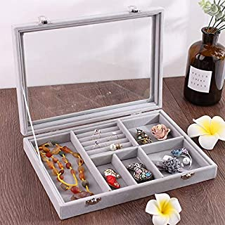 New Home Storage 6 in 1 Multi-Function Ear Stud Earrings Bracelet Pendant Necklace Ring Jewelry Protective Display Storage Box (Black) Used for Home (Color : Grey)