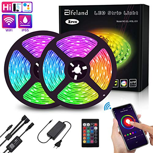 Elfeland LED Streifen 10M LED Stripes LED Bänder WiFi steuerbar via App LED Strip RGB 5050SMD 300 Led Band IP65 Lichtband mit Fernbedienung kompatibel mit Google Home, Amazon Alexa, Echo, IFTTT