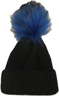 Wool Hat with Genuine Fur Pom Pom - Black with BluePom Pom