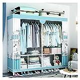 Roperos de Dormitorio Guardarropa almacenaje closet ropa portátil guardarropa almacenaje armario portátil organizador portátil armarios espacio espacio ahorro organizador azul Roperos de Tela