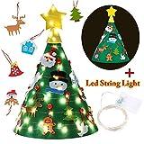 KOBWA 3D Árbol de Navidad de Fieltro, Árbol de Navidad DIY Mejorado con 18 Pcs de Adornos Colgantes & 32.8 Ft Luz de Cadena (100 Leds) para la Decoración del Hogar de Los Niños
