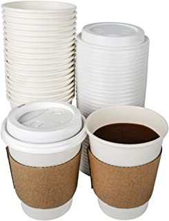 TashiBox 12 oz Disposable Coffee Cups With Lids and Sleeves, Paper Hot Cup - 108 Sets