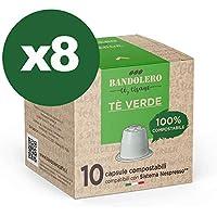 BANDOLERO 100% Compostable Made in Italy, 80 Cápsulas Compatibles con Nespresso, Té Verde del Cultivo Ecosostenible, Aroma Inconfundible para Cafetera Nespresso