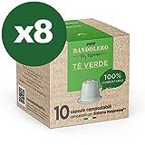 BANDOLERO 80 capsule compatibili Nespresso, Te Verde, capsule compostabili Nespresso, Made in Italy, senza zuccheri aggiunti cialde Nespresso compatibili in confezione salvafreschezza