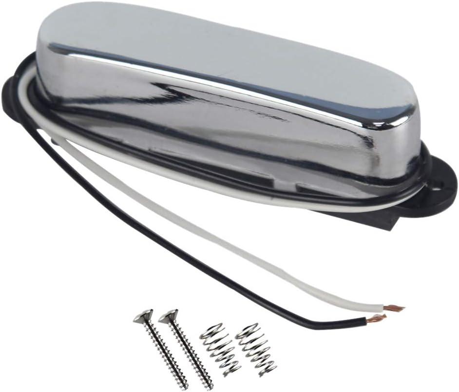 FLEOR Pastillas de bobina simple Pastilla de cuello de guitarra Imán de cerámica 7-8k para piezas de cuello de guitarra eléctrica Fender Telecaster, cromo
