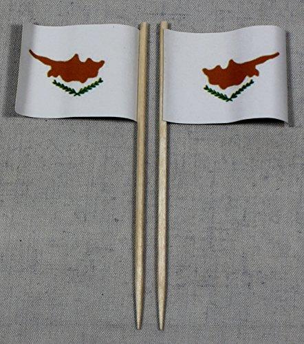 Buddel-Bini Party-Picker Flagge Zypern Papierfähnchen in Profiqualität 50 Stück 8 cm Offsetdruck Riesenauswahl aus eigener Herstellung