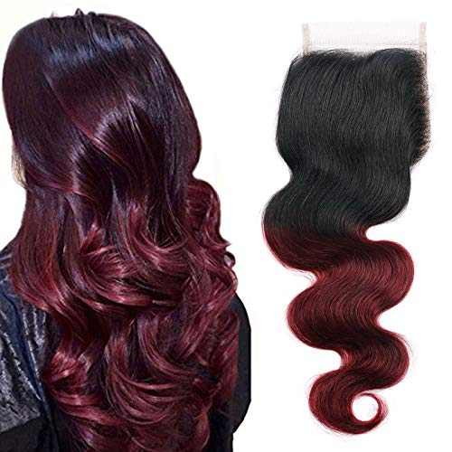 DAIMER Lace Closure Only Body Wave Burgundy Closure 4x4 Free Part Pre Plucked with Baby Hair Natural Hairline Black to Red 100% Human Hair Sew in Hair Extension for Black Women 18 Inch