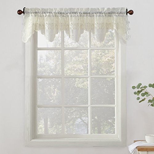"""No. 918 Alison Sheer Lace Kitchen Curtain Valance, 58"""" x 14"""", Ivory"""