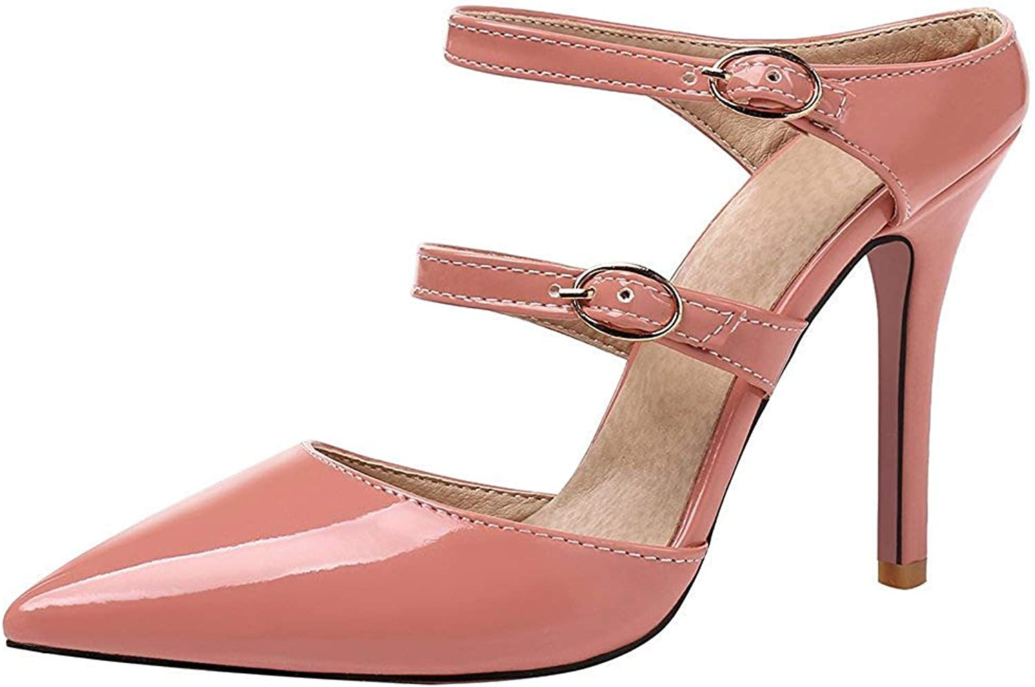 Lelehwhge Women's Dressy Buckle Strap Pointed Toe Stiletto High Heels Mules shoes Sandals Yellow 8 M US