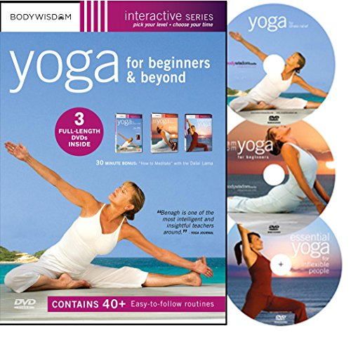 Price comparison product image Yoga for Beginners DVD Deluxe Set with 40+ Yoga Video Workouts: Yoga for Stress Relief,  AM-PM Yoga & Inflexible People. Easy Yoga for Seniors & much More