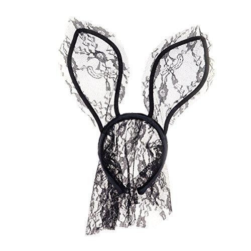 LUOEM Schwarze Spitze Bunny Ohren mit Schleier Sexy Hasenohren Stirnband Osterhase Maske